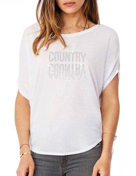 Country Miroir - T-shirt femme Manches Chauve Souris