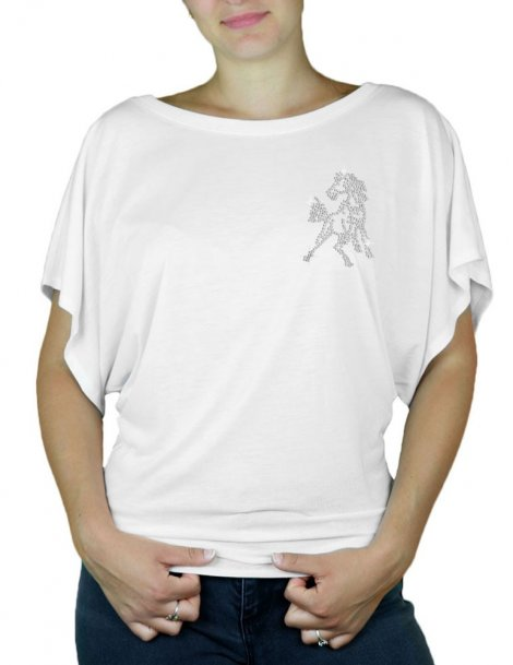 Mini Cheval Strass - T-shirt femme Manches Papillon