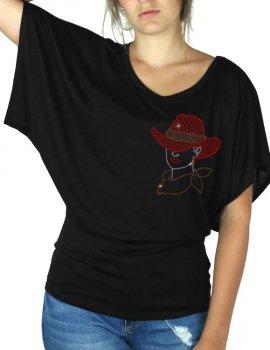 Femme au Chapeau - T-shirt femme Manches Papillon