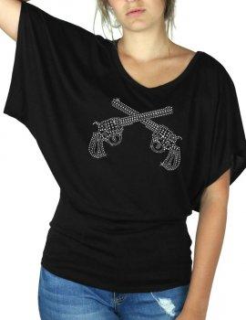 Pistolets Strass - T-shirt femme Manches Papillon