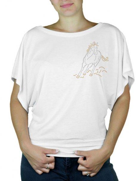 Cheval Au Galop - T-shirt femme Manches Papillon
