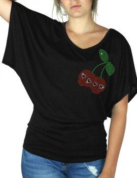 Cerises Tête de Mort - T-shirt femme Manches Papillon