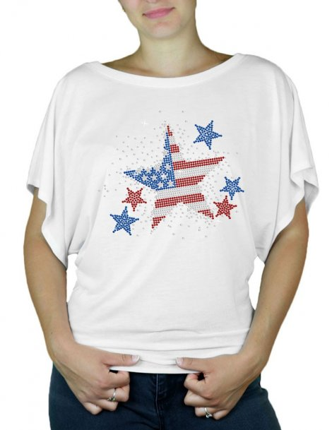 Etoile USA - T-shirt femme Manches Papillon