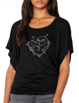 Coeur Arabesques - T-shirt femme Manches Papillon