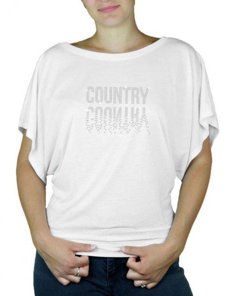 strass country en miroir tee shirt femme