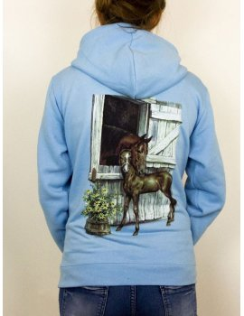 Motif cheval et son poulain - sweat à capuche fillette