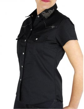 Chemise country col strass