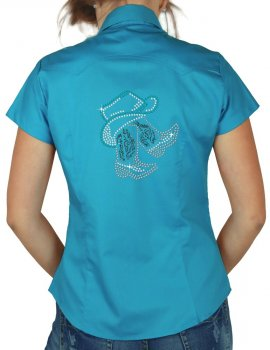 Boots & Hat rhinestone design on lady shirt