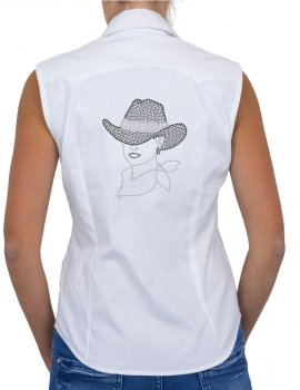 Femme au Chapeau - Chemise Femme Sans Manche