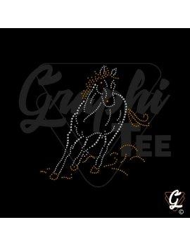motif de cheval au galop en strass