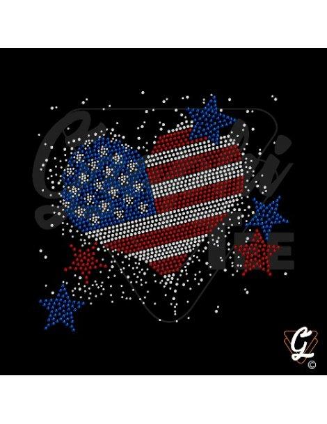 Plaque de strass motif coeur USA