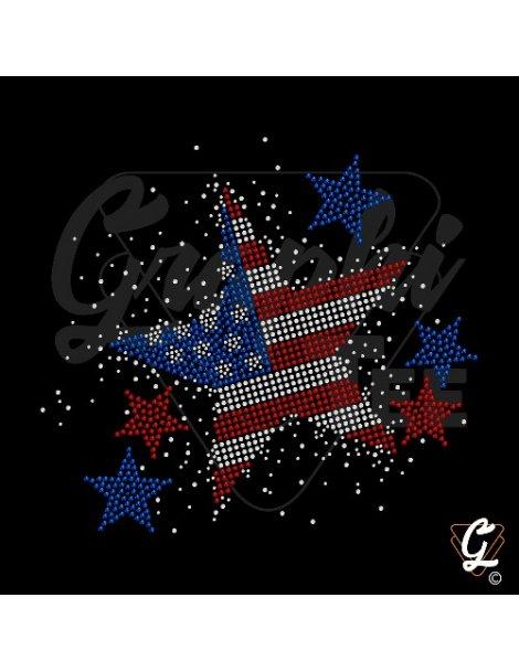Strass et paillettes motif USA