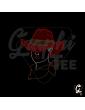 Transfert strass femme chapeau rouge