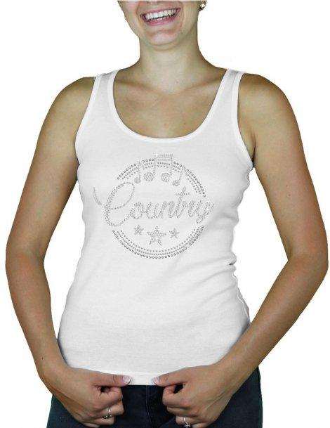 Motif strass macaron country - tee shirt Femme