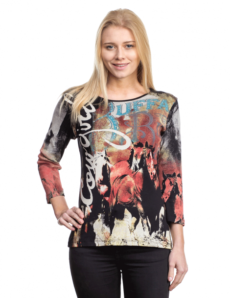 Top cowgirl chevaux manches 3/4