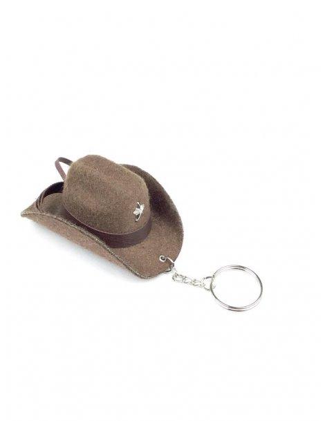 porte clé chapeau marron