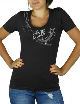 Line dance étoile - T-shirt femme col U