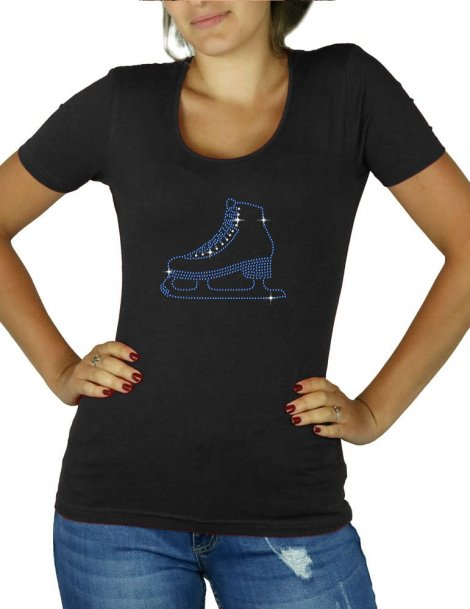 Motif patin à glace en strass - T-shirt femme col U