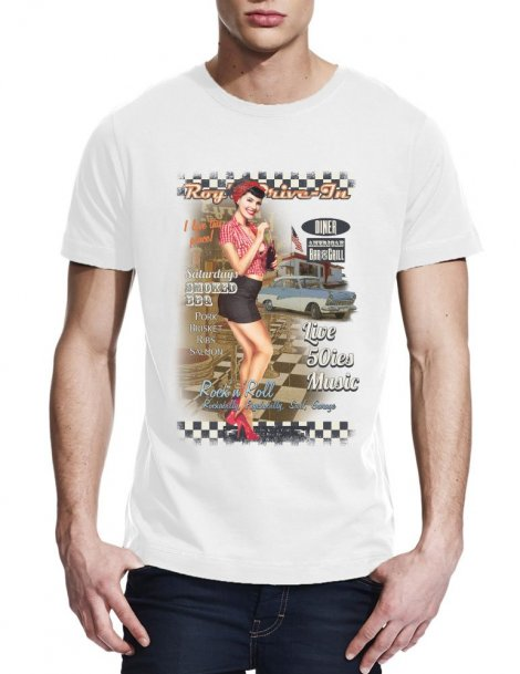 T-shirt homme pin up Roy's drive in