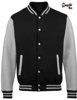 Varsity college jacket or teddy with gray sleeves