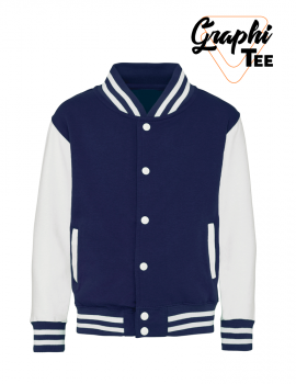 white sleeves children's jacket varsity teddy