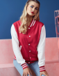 Veste college rouge, teddy manches blanche