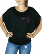 Guylaine BOURDAGES - T-shirt noir femme manches chauves souris