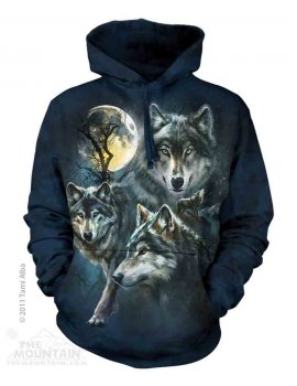 Sweat capuche motif loups - Moon Wolves collage - The mountain
