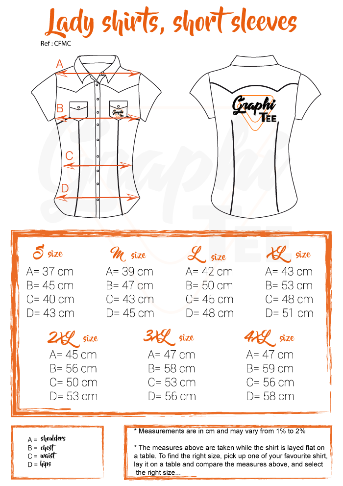 size chart guide lady shirt from Graphi-tee