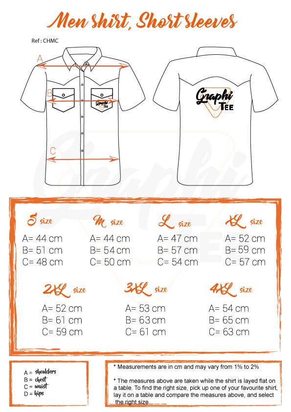 size chart man short sleeves