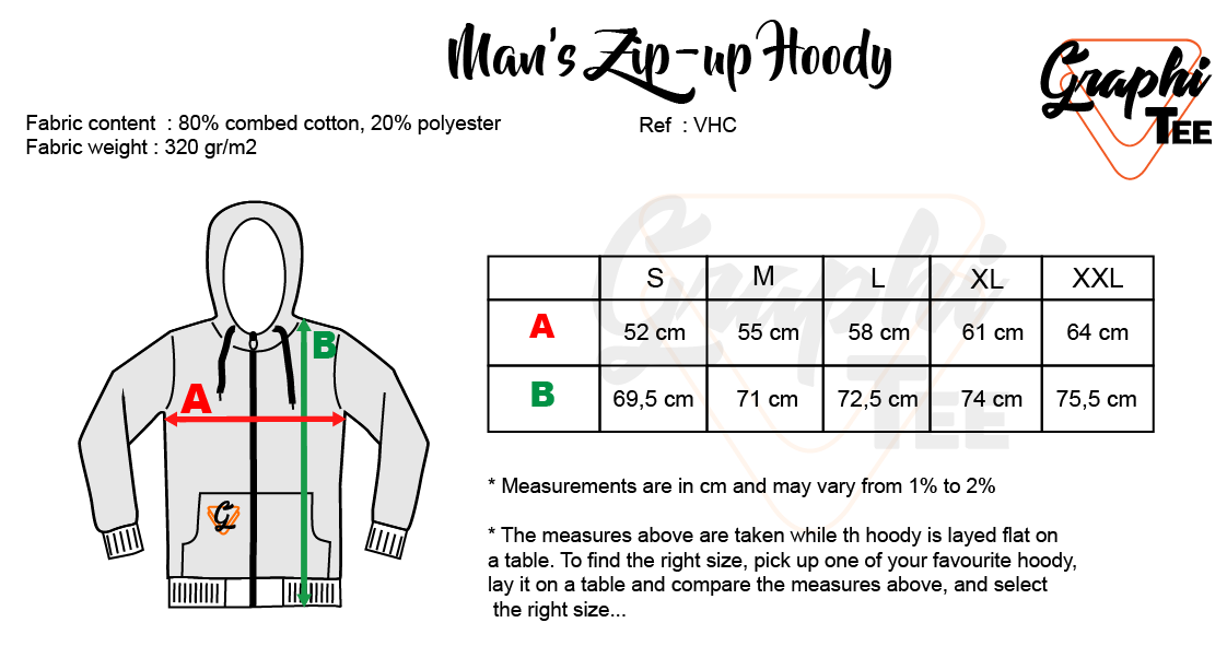 Guide of measure for the man's jacket hooded