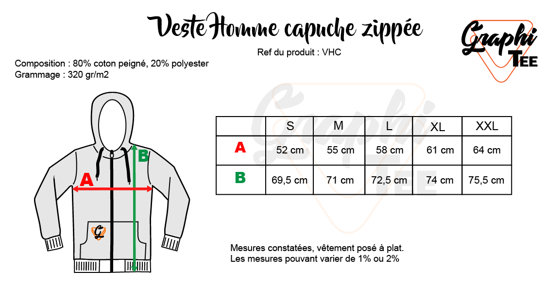 Guide des tailles sweat capuche homme Graphi-tee