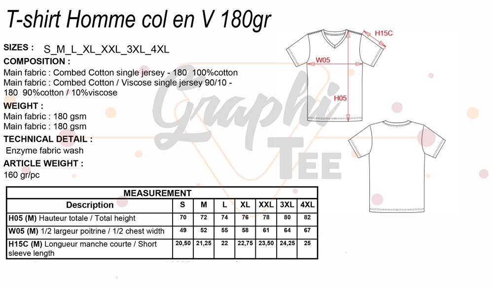 Guide des tailles t-shirt homme col en V