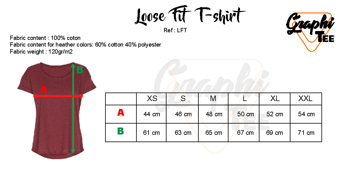 Size chart for loose fit tee