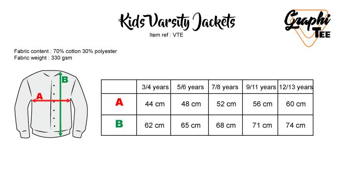 kids varsity jackets sizes